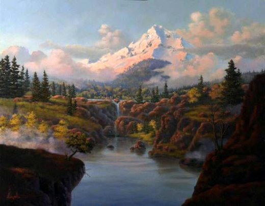 Original paintings a beautiful river at the foot of the for Original artwork for sale online