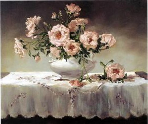 original paintings a bunch of pink flowers in a white porcelain vase paintings
