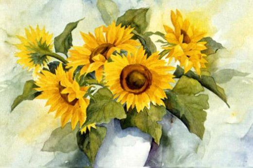 original paintings a bunch of sunflowers in a vase painting