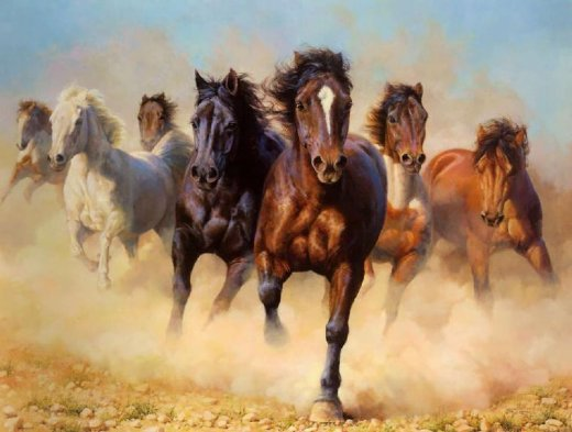 original paintings a drove of horses painting