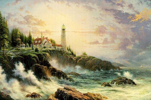 Original paintings a light tower by the sea painting for Original artwork for sale online