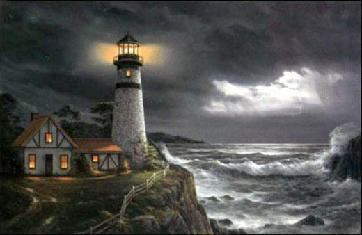 Original Paintings A Lighthouse By The Sea In Evening