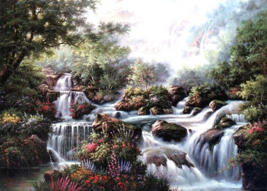 original paintings a series of small waterfalls in the jungle paintings