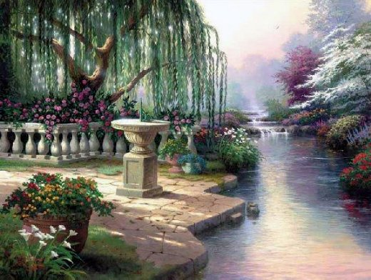 original paintings a weeping willow by the river of a park paintings