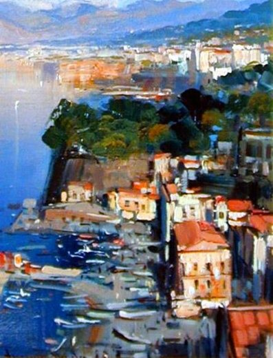 Original paintings mediterranean scenery houses on the for Oil paintings of houses
