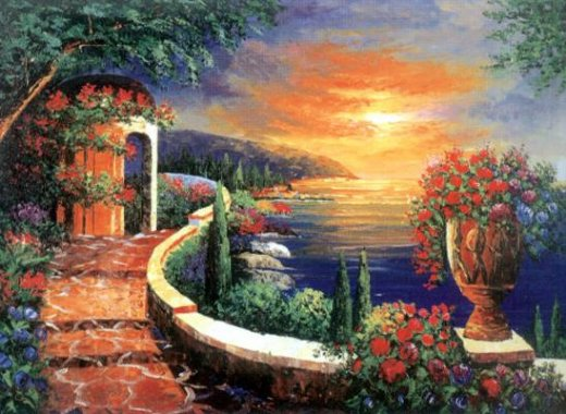 original paintings mediterranean scenery the coastal scenery in the early morning light painting