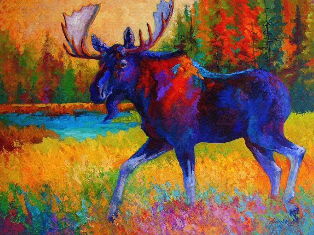 original majestic monarch moose marion rose canada animal painting