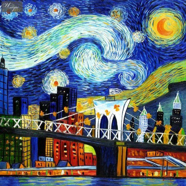 Original modern new york landscape 4 painting original for Original modern art for sale