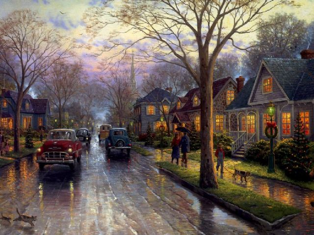 original thomas kinkade new york city hometown christmas painting