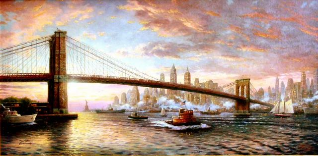 original thomas kinkade spirit of new york city 2 painting