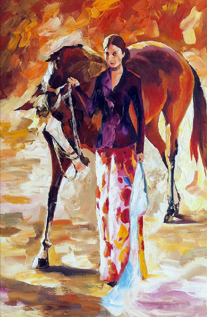 original woman with horse paintings