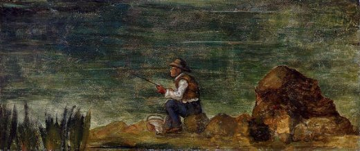 paul cezanne fisherman on the rocks painting