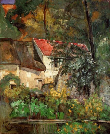 paul cezanne the house of pere lacroix in auvers painting