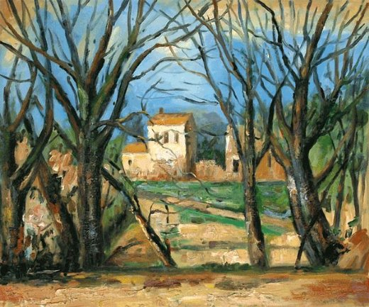 paul cezanne trees and house painting