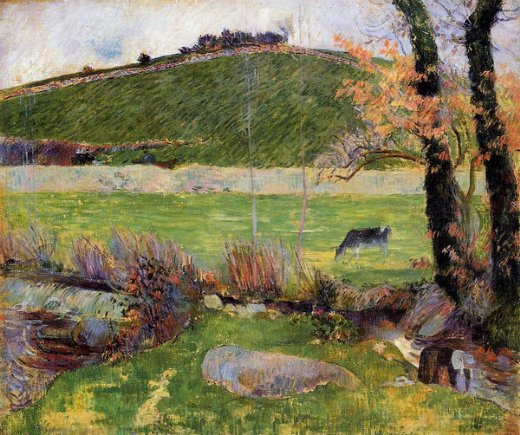 paul gauguin a meadow on the banks of the aven painting