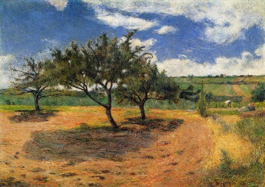 paul gauguin apple trees at l hermitage painting