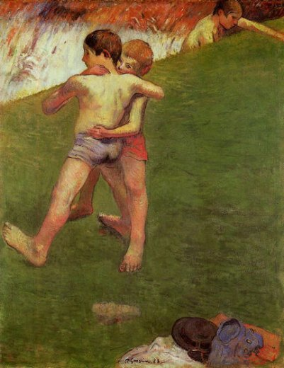 paul gauguin breton boys wrestling prints