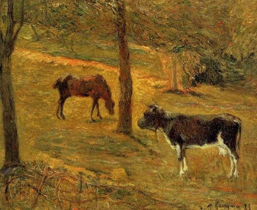paul gauguin horse and cow in a field paintings