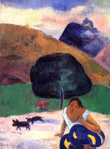 paul gauguin landscape with black pigs and a crouching tahitian painting