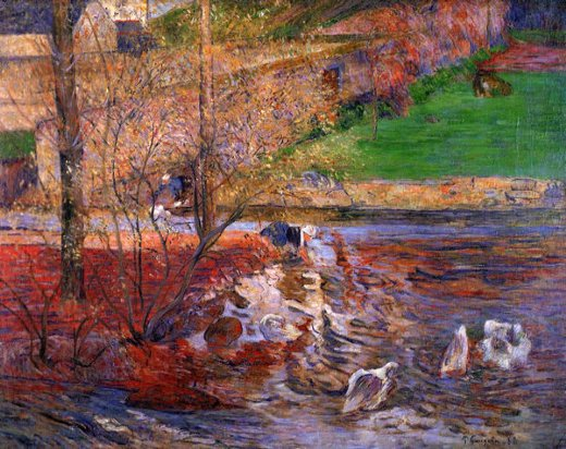 paul gauguin landscape with geese prints