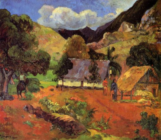 paul gauguin landscape with three figures posters