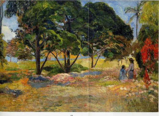 paul gauguin landscape with three trees painting