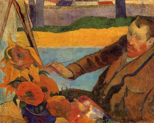paul gauguin portrait of vincent van gogh sunflowers painting