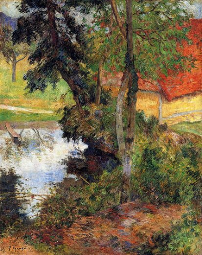 paul gauguin red roof by the water painting