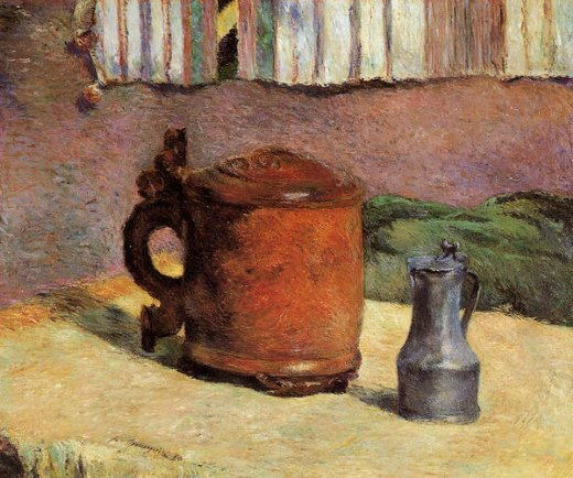 paul gauguin still clay jug and iron mug paintings