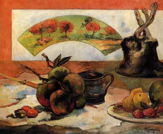paul gauguin still life with fan iii painting