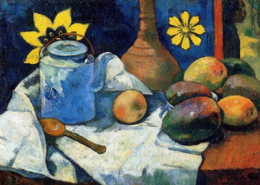 paul gauguin still life with teapot and fruit painting