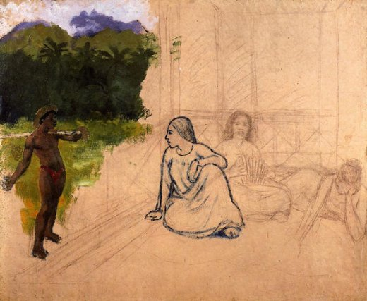 paul gauguin tahitians at rest unfinished painting