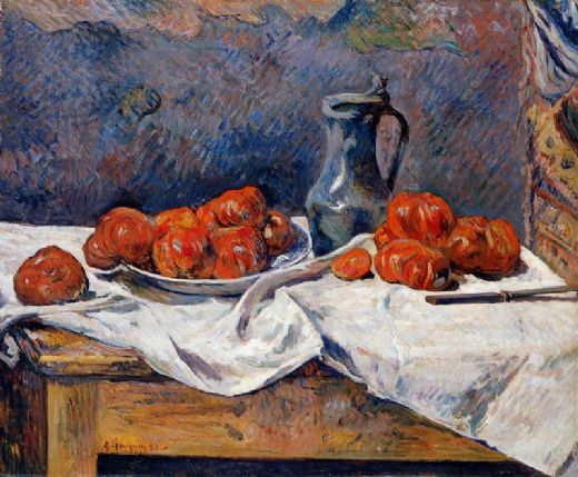 paul gauguin tomatoes and a pewter tankard on a table paintings