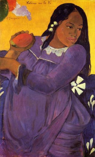 paul gauguin woman with a mango painting