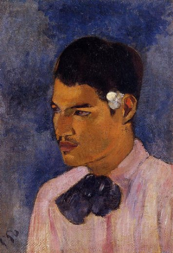 paul gauguin young man with a flower painting