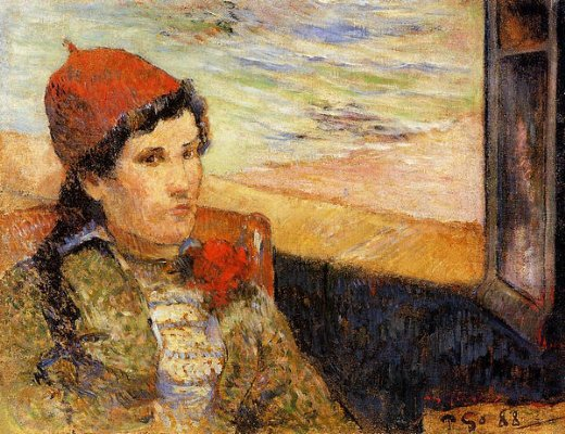 paul gauguin young woman at a window painting