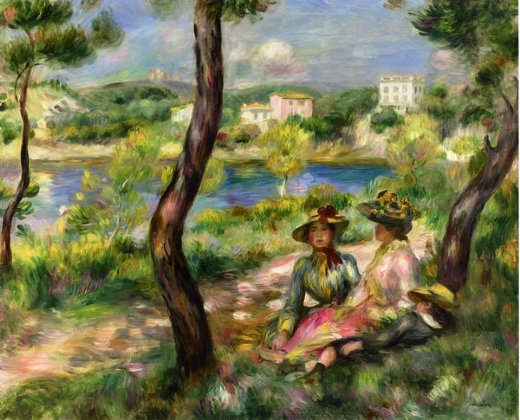 pierre auguste renoir beaulieu women and little boy painting