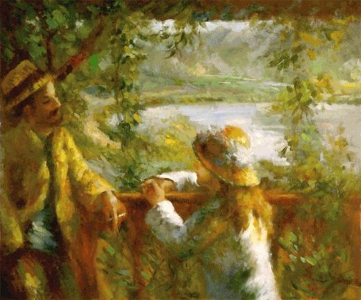 pierre auguste renoir near the lake ii paintings