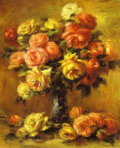 pierre auguste renoir roses in a vase paintings
