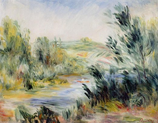 pierre auguste renoir the banks of a river rower in a boat prints