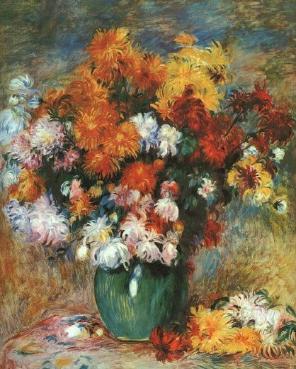 pierre auguste renoir vase of chrysanthemums paintings