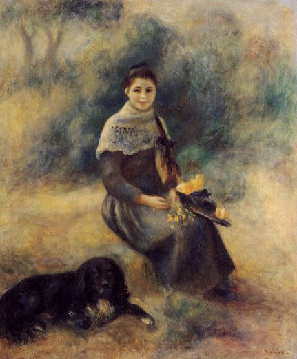 pierre auguste renoir young girl with a dog paintings