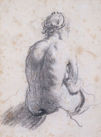 rembrandt van rijn a study of a female nude seen from the back paintings