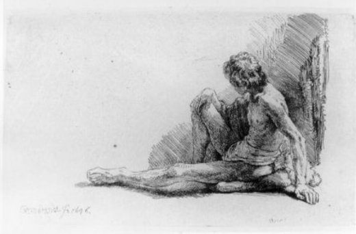 rembrandt van rijn nude man seated on the ground with one leg extended painting