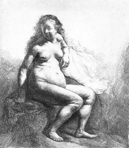 rembrandt van rijn seated female nude painting