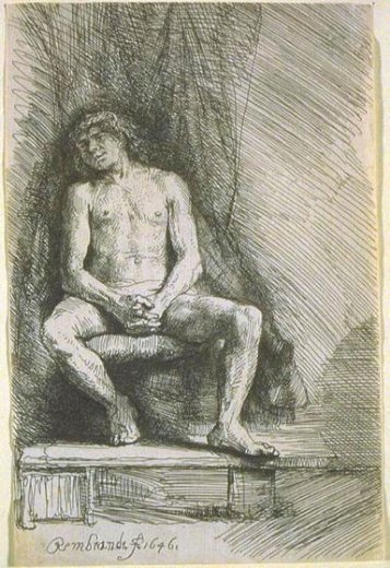 rembrandt van rijn study from the nude man seated before a curtain paintings