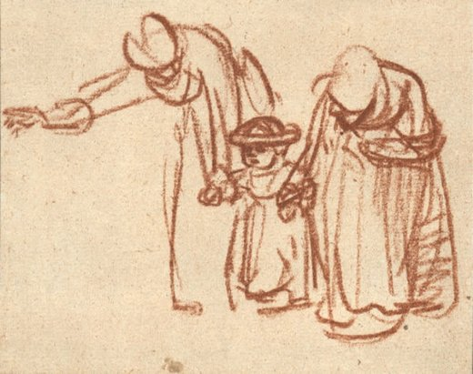 rembrandt van rijn two women teaching a child to walk painting