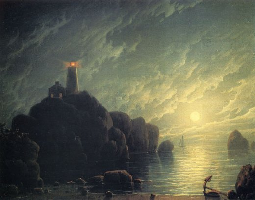 Robert Salmon Moonlight And Lighthouse Paintings