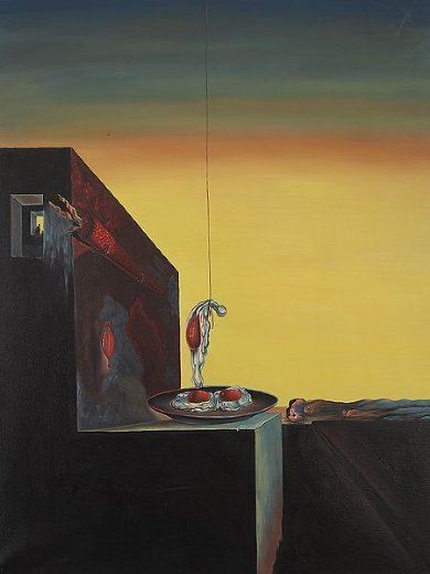 salvador dali fried eggs on the plate without the plate painting