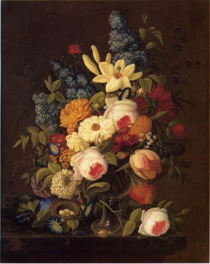 severin roesen floral still life with nest of eggs painting